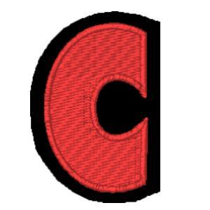 Letra C vermelho