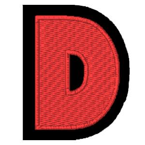 Letra D vermelho