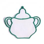 Emblemas Living Louça Açucareiro Branco e Verde