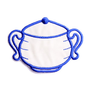 Emblemas Living Louça Açucareiro Pequeno Branco e Azul