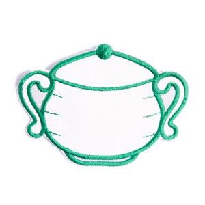 Emblemas Living Louça Açucareiro Pequeno Branco e Verde
