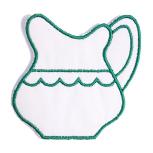 Emblemas Living Louça Jarro Peq. Branco e Verde