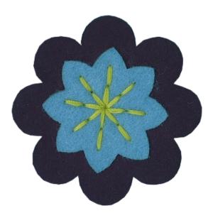 Emblemas Natureza Flor dupla Azul