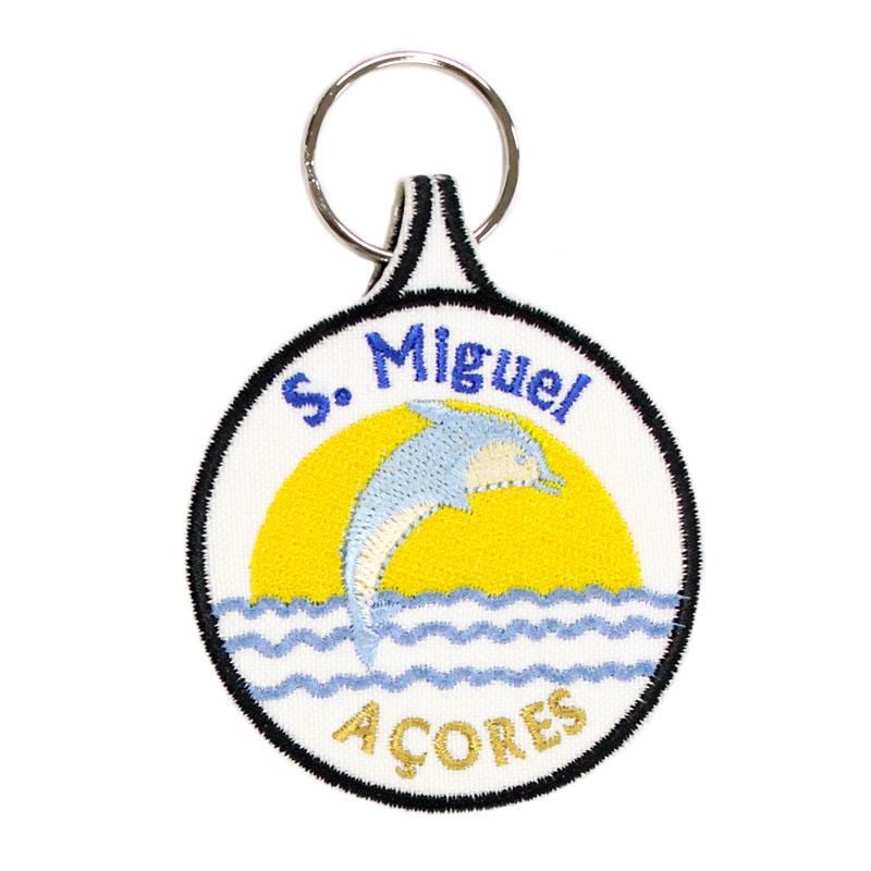 Porta-chaves Bordado Golfinho São Miguel Açores