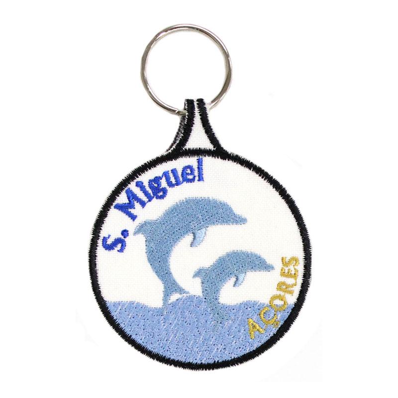 Porta-chaves Bordado Golfinhos São Miguel Açores