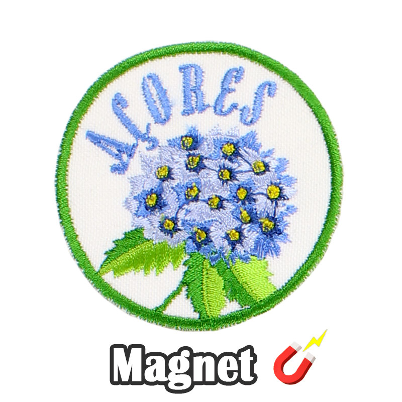 Emblema magnético Bordado Hortênsia Azul Açores Portugal (Íman)