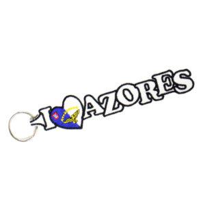 Porta-chaves Branco I LOVE AZORES - Bandeira Açores