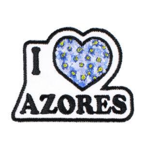 Emblema I love Azores Coração com Flores Hortências dos Açores