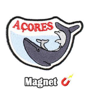 Emblema magnético Bordado Açores Baleia e Golfinho (Íman)