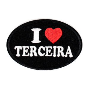 Emblema oval I Love TERCEIRA, preto.