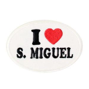 Emblema oval I Love São Miguel, branco.