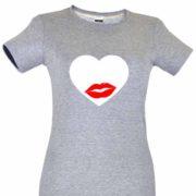 Dia dos Namorados Heart & Lips kiss T-Shirt Cinza Senhora