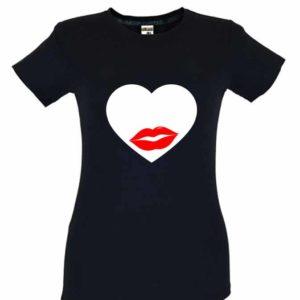 Dia dos Namorados Heart & Lips kiss T-Shirt Preta Senhora
