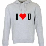 Dia dos Namorados I Love You Sweatshirt Unissexo com Capuz Cinza