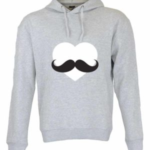 Dia dos Namorados Heart & Moustache Sweatshirt Cinza Unissexo