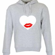 Dia dos Namorados Heart & Lips kiss Sweatshirt Unissexo com Capuz Cinza Unissexo.