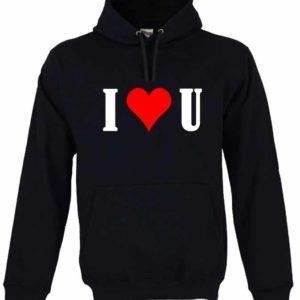 Dia dos Namorados I Love You Sweatshirt Unissexo com Capuz Preta.