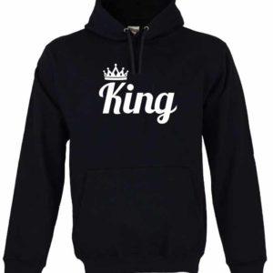 Dia dos Namorados King Sweatshirt Unissexo com Capuz Preta.