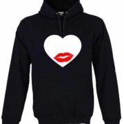 Dia dos Namorados Heart & Lips kiss Sweatshirt Unissexo com Capuz Preta Unissexo.