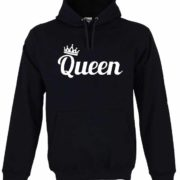 Dia dos Namorados Queen Sweatshirt Unissexo com Capuz Preta Unissexo.