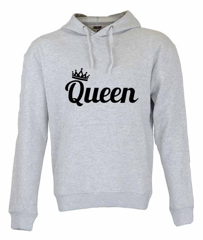 Dia dos Namorados Queen Sweatshirt Unissexo com Capuz Cinza.