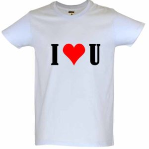 T-Shirt Branca Dia dos Namorados I Love You
