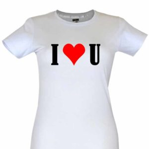 Dia dos Namorados I Love You T-Shirt Branca Senhora