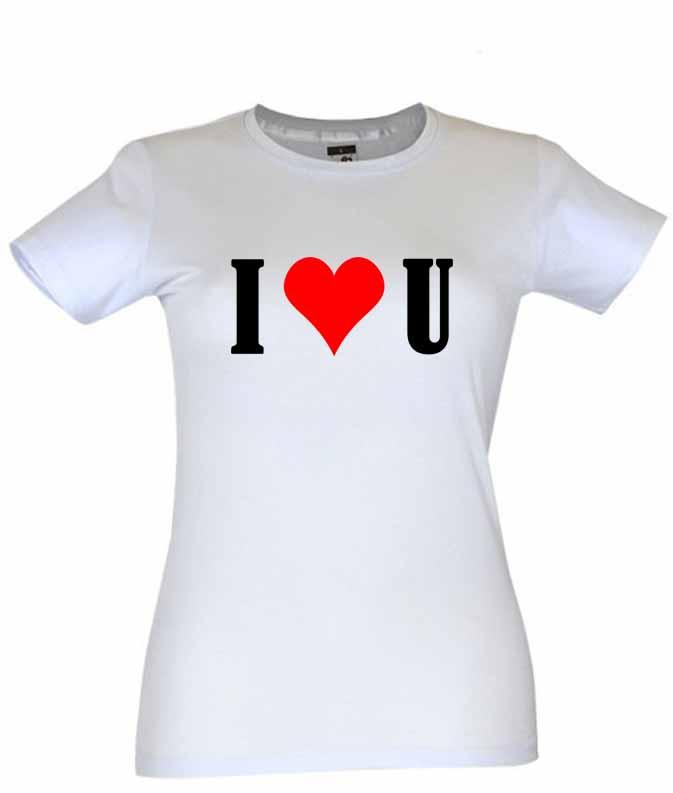 Dia dos Namorados I Love You T-Shirt Branca Senhora