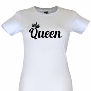 Dia dos Namorados Queen T-Shirt Branca Senhora