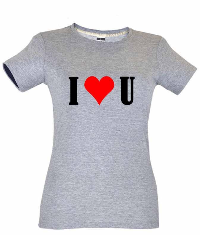 Dia dos Namorados I Love You T-Shirt Cinza Senhora