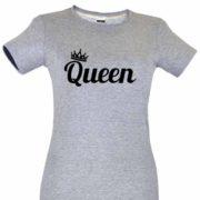 Dia dos Namorados Queen T-Shirt Cinza Senhora