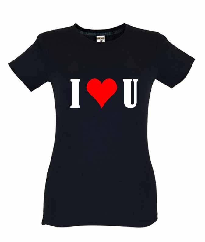 Dia dos Namorados I Love You T-Shirt Preta Senhora