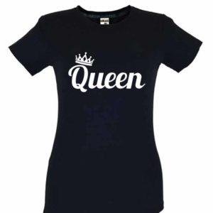 Dia dos Namorados Queen T-Shirt Preta Senhora
