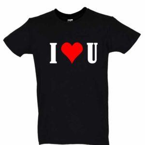 Dia dos Namorados I Love You T-Shirt Preta Homem