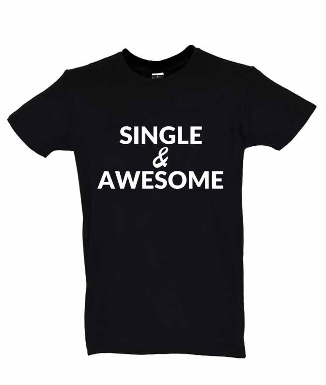 Dia dos Namorados Single & Awesome T-Shirt Preta Homem