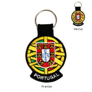 Porta-chaves bordado Portugal e Esfera Armilar dos dois lados