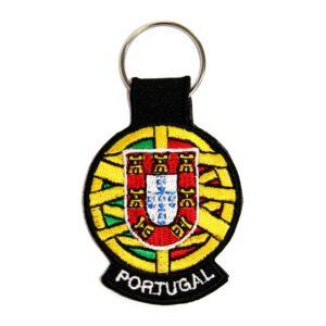 Porta-chaves bordado Portugal e Esfera Armilar