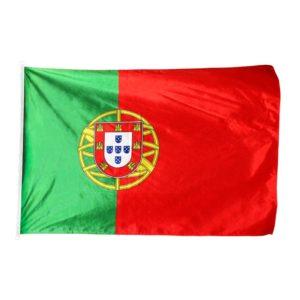 Bandeira de Portugal Estampada. -Características- Medida - 130X90 cm; Tela - Texprint 130g por metro quadrado; Alta resistência no exterior; Costuras duplas; Precinta Lateral; Duas argolas.