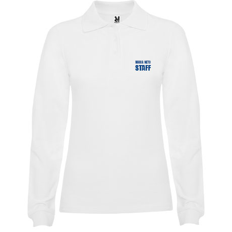 Polo Piquet Personalizado - Senhora - Manga Comprida - Disponível em Branco e Azul