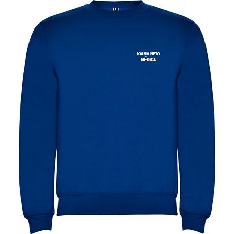 Sweat Shirt Personalizada- Felpa Americana - Unisexo - Disponível em Branco e Azul